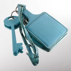 FOSSIL BLUE KEY & LEATHER LUGGAGE TAG LOOP FOB KEY